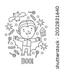 halloween coloring page for... | Shutterstock .eps vector #2032831640