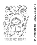 halloween coloring page for... | Shutterstock .eps vector #2032831646