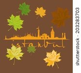 istanbul city and sycamore leaf ... | Shutterstock .eps vector #203283703