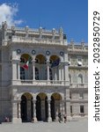 Small photo of Trieste, Italy - July 16, 2017: View of Palazzo de Governo in Trieste City Centre on a Sunny Day
