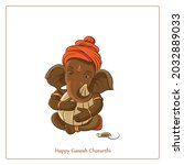 eco friendly terracotta ganesha ...   Shutterstock .eps vector #2032889033