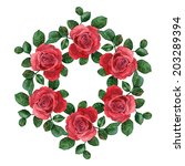 floral wreath of red roses....   Shutterstock .eps vector #203289394