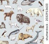 hand drawn seamless pattern... | Shutterstock .eps vector #2032913633