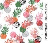 bright palm leaf line art... | Shutterstock .eps vector #2032916249
