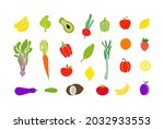 vector set of doodle fruits and ... | Shutterstock .eps vector #2032933553
