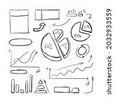 vector doodle pen drawn charts  ... | Shutterstock .eps vector #2032933559