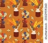 autumn flowers seamless vector...   Shutterstock .eps vector #2032959260