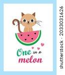 cute kitten cat one in a melon...   Shutterstock .eps vector #2033031626