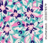 botanical seamless pattern with ... | Shutterstock .eps vector #2033078579
