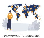 a man on the background of a...   Shutterstock .eps vector #2033096300