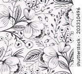 vector floral seamless pattern... | Shutterstock .eps vector #203310496