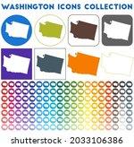 washington icons collection....   Shutterstock .eps vector #2033106386