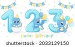 set of 3 cute blue dinosaurs ...   Shutterstock .eps vector #2033129150
