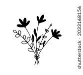 line art bunch of flowers.... | Shutterstock .eps vector #2033168156