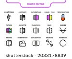 vector icon line and fill set.... | Shutterstock .eps vector #2033178839