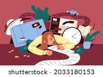 busy person overloaded with... | Shutterstock .eps vector #2033180153