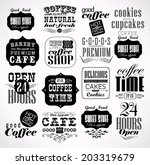 retro coffee  labels and... | Shutterstock . vector #203319679