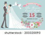 retro wedding invitation with... | Shutterstock .eps vector #203320093