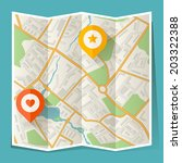 abstract city folded map with... | Shutterstock .eps vector #203322388