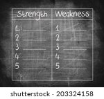 strength and weakness list... | Shutterstock . vector #203324158
