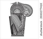 polynesian arm tattoo. redrawn... | Shutterstock .eps vector #2033277410