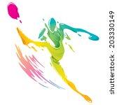 paint splashing   soccer player ... | Shutterstock .eps vector #203330149
