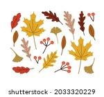 hand drawn set of autumn leaves....   Shutterstock .eps vector #2033320229