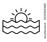 dawn and sea vector outline... | Shutterstock .eps vector #2033369480