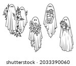 set of silhouettes ghosts....   Shutterstock .eps vector #2033390060