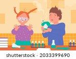 kids scientists study chemistry ... | Shutterstock .eps vector #2033399690
