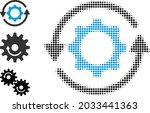 halftone gear rotation. dotted... | Shutterstock .eps vector #2033441363