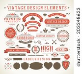 vintage vector design elements. ... | Shutterstock .eps vector #203348623