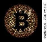 golden halftone crypto bitcoin... | Shutterstock .eps vector #2033494613