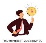 businessman holding a dollar ... | Shutterstock . vector #2033502470