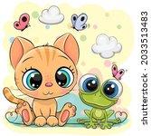 illustration of cute kitten and ... | Shutterstock .eps vector #2033513483