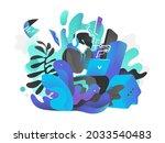 the young programmer develops...   Shutterstock . vector #2033540483