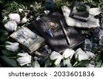 grunge still life with witch...   Shutterstock . vector #2033601836