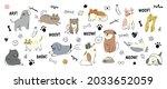 cute dogs doodle vector set.... | Shutterstock .eps vector #2033652059