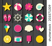 a set of colorful flat design... | Shutterstock .eps vector #203371309