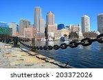 boston skyline along the harbor ... | Shutterstock . vector #203372026