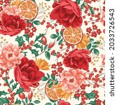 christmas seamless pattern with ... | Shutterstock .eps vector #2033726543