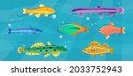 underwater ocean fauna with... | Shutterstock .eps vector #2033752943