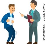 angry boss shouting to employee.... | Shutterstock .eps vector #2033752949