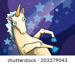 crazy unicorn  vector... | Shutterstock .eps vector #203379043