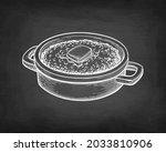 oat porridge with butter. chalk ... | Shutterstock .eps vector #2033810906