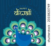 peacock happy diwali also known ...   Shutterstock .eps vector #2033820749
