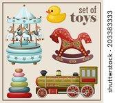 Set Of Vintage Toys. Vector