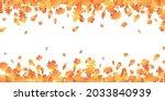 autumn leaves long border. fall ... | Shutterstock .eps vector #2033840939