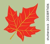 simplicity maple leaf freehand... | Shutterstock .eps vector #2033897606