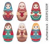 matryoshka wooden doll russian...   Shutterstock .eps vector #2033915039